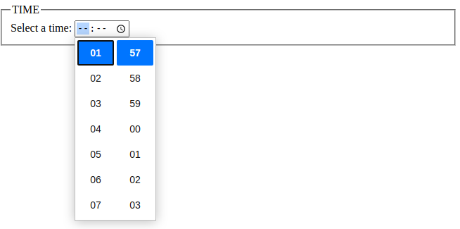 html 5 input time data type