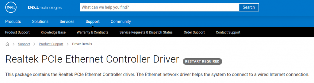 Dell PCIe Ethernet controller Driver