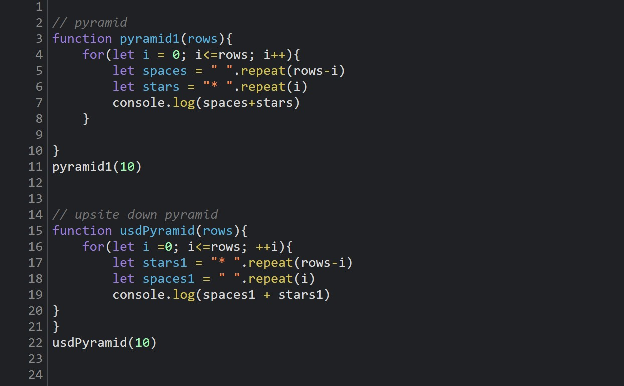 pyramid patters with javascript